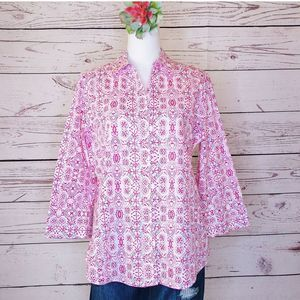Foxcroft Pink Flower Tribal Button down Shirt L
